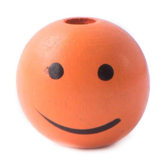 Coloured Wooden Bead Smiley 'Orange'