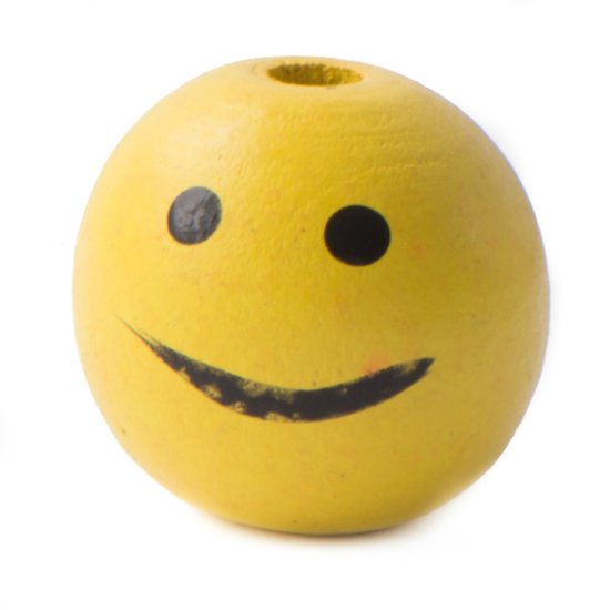 Coloured Wooden Bead Smiley 'Yellow'